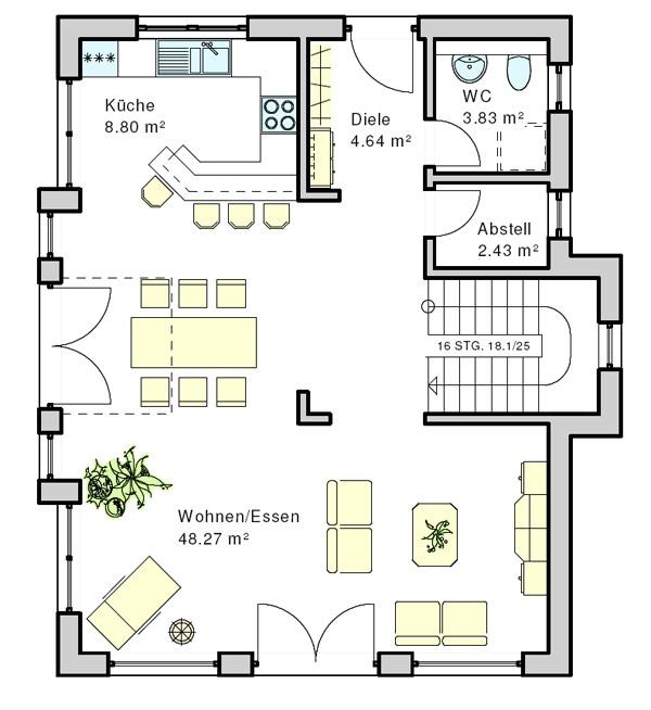 Grundriss erker giebel wohnzimmer for Fertighaus grundrisse einfamilienhaus